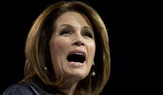 In this March 16, 2013 file photo, Rep. Michelle Bachmann, R- Minn., speaks at the 40th annual Conservative Political Action Conference in National Harbor, Md. (AP Photo/Carolyn Kaster, file)