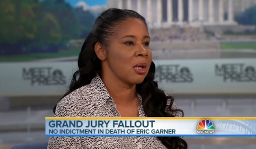 """Eric Garner's widow, Esaw, said Sunday that she believes her husband was """"murdered unjustly"""" by New York police, but she doesn't think race was a contributing factor in his death. (NBC News)"""