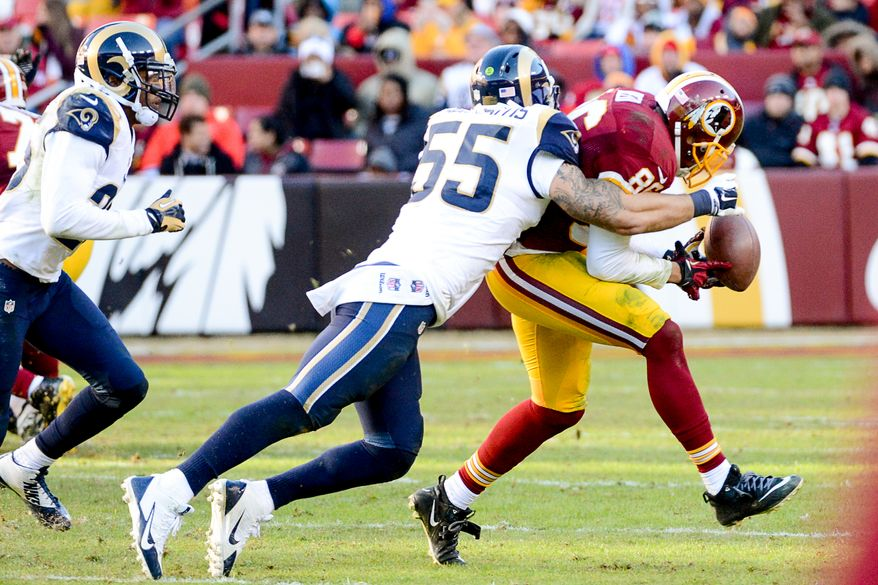 Washington Redskins tight end Jordan Reed (86) can't hold on to a pass in the third quarter as the Washington Redskins play the St. Louis Rams in NFL football at FedExField, Landover, Md., Sunday, December 7, 2014. (Andrew Harnik/The Washington Times)
