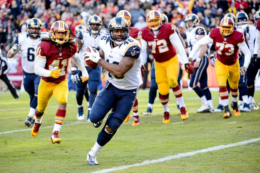 St. Louis Rams tight end Cory Harkey (46) catches a pass for a two point conversion on a trick play in the third quarter as the Washington Redskins play the St. Louis Rams in NFL football at FedExField, Landover, Md., Sunday, December 7, 2014. (Andrew Harnik/The Washington Times)