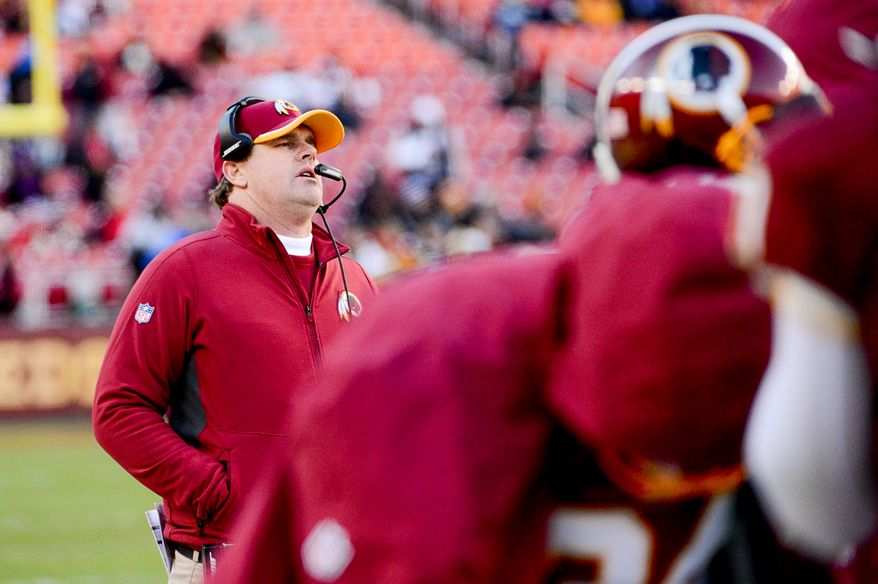 Washington Redskins head coach Jay Gruden shows his frustration on the sideline in the final minutes of the game as the Washington Redskins lose to the St. Louis Rams 24-0 in NFL football at FedExField, Landover, Md., Sunday, December 7, 2014. (Andrew Harnik/The Washington Times)