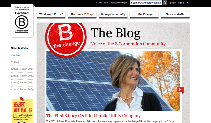 """""""B Corps are certified by the nonprofit B Lab to meet rigorous standards of social and environmental performance, accountability, and transparency,"""" according to the B Corp website. Credit: Screen shot B Corp website."""