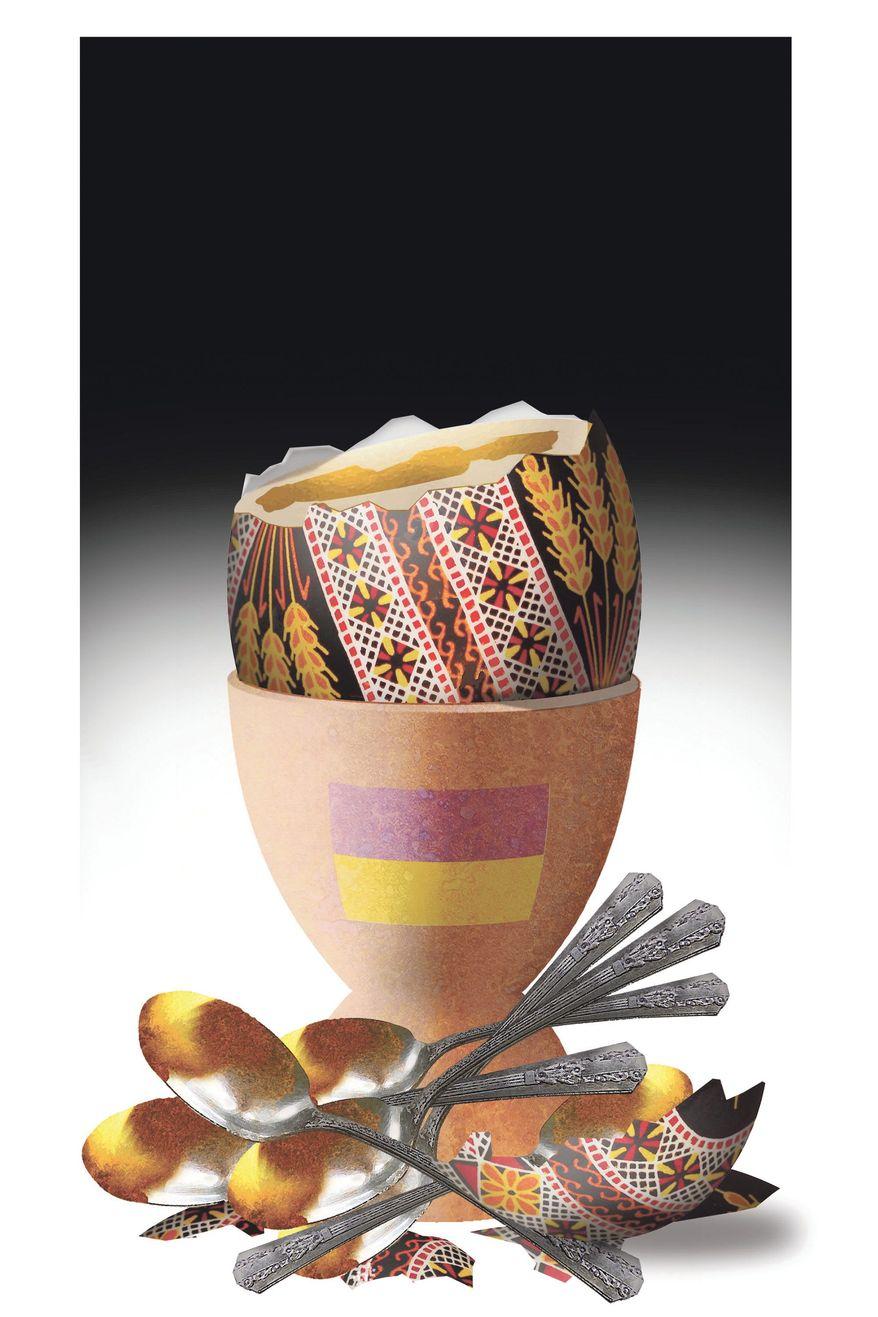 Illustration on political economic corruption in Ukraine by Alexander Hunter/The Washington Times