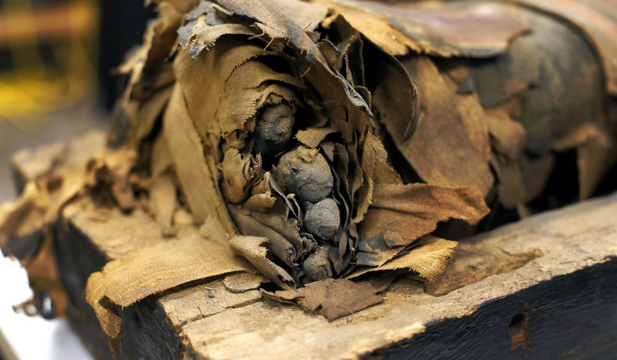 In this photo taken Friday, Dec. 5, 2014, in Chicago, the mummified body of Minirdis, a 14-year-old Egyptian boy and his exposed toes lie in his opened coffin after J.P. Brown and his team of curators at the Field Museum opened the coffin for the first time to begin a conservation process on the 2,500-year-old boy before it becomes part of a traveling exhibition. Brown says they have to fix his burial mask, shroud, reconnect his detached feet, and do work this week to shore up the coffin and mummy so they can withstand travel. (AP Photo/Charles Rex Arbogast)