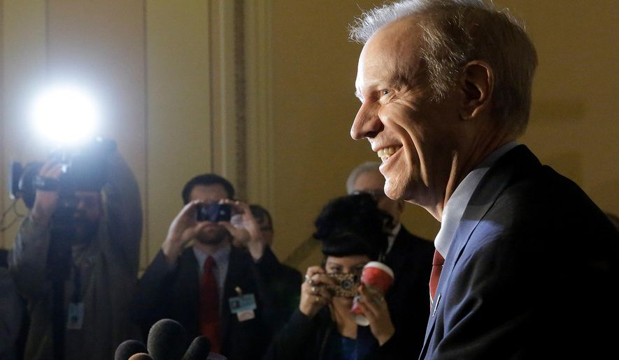 FILE - In this Nov. 20, 2014 file photo, Republican Gov-elect Bruce Rauner speaks to reporters at the Illinois state Capitol in Springfield Ill. Rauner spoke Monday Dec. 8, 2014 at an Illinois Farm Bureau meeting in Chicago, saying he strongly prefers to have a farmer take over the Illinois Department of Agriculture. The Winnetka Republican says farmers have helped Illinois weather tough economic times. He says Illinois needs a booming agriculture sector. (AP Photo/Seth Perlman, File)