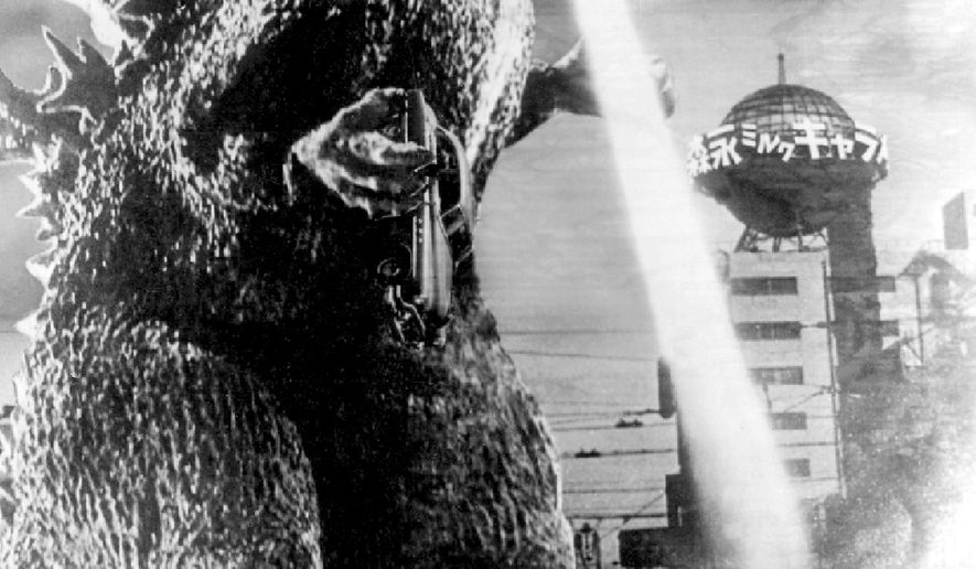 "This photo taken from a scene of the 1954 film ""Godzilla"" and provided by Toho Co., shows Godzilla. Godzilla is stomping back. And this time, it's Made in Japan, like the original. The announcement this week from Japanese film studio Toho comes after the success earlier this year of the Hollywood Godzilla, directed by Gareth Edwards, which grossed more than $500 million worldwide. Toho said in 2004 it had made its last Godzilla film, the 28th in the series centered on the irradiated monster, which first stomped into the world in 1954. (AP Photo/Toho Co., Ltd.) EDITORIAL USE ONLY, NO SALES"