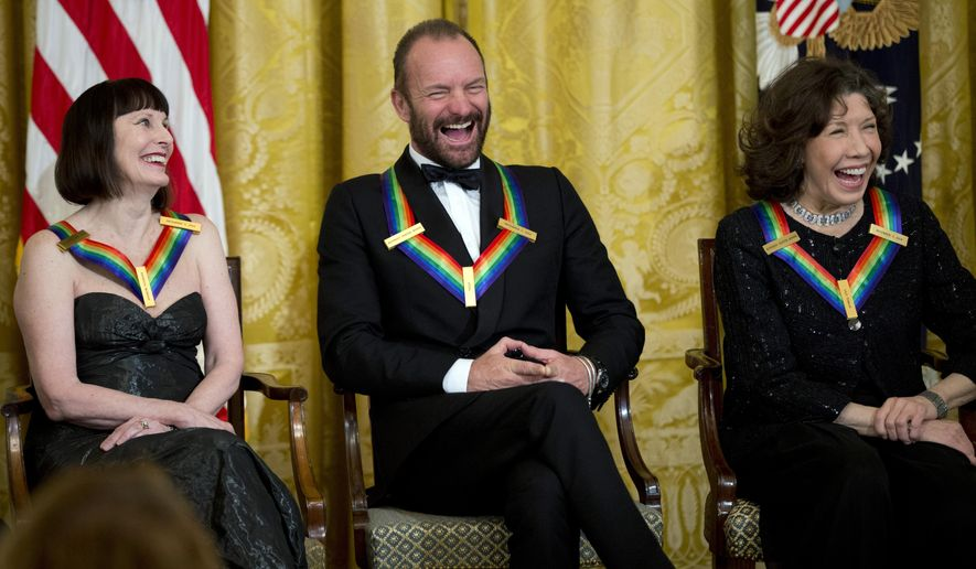 The Kennedy Center Honors Honorees ballerina Patricia McBride, from left, singer-songwriter Sting, and comedienne Lily Tomlin, laugh during a reception in their honor in the East Room of the White House in Washington, Sunday, Dec. 7, 2014, hosted by President Barack Obama and first lady Michelle Obama. (AP Photo/Manuel Balce Ceneta)