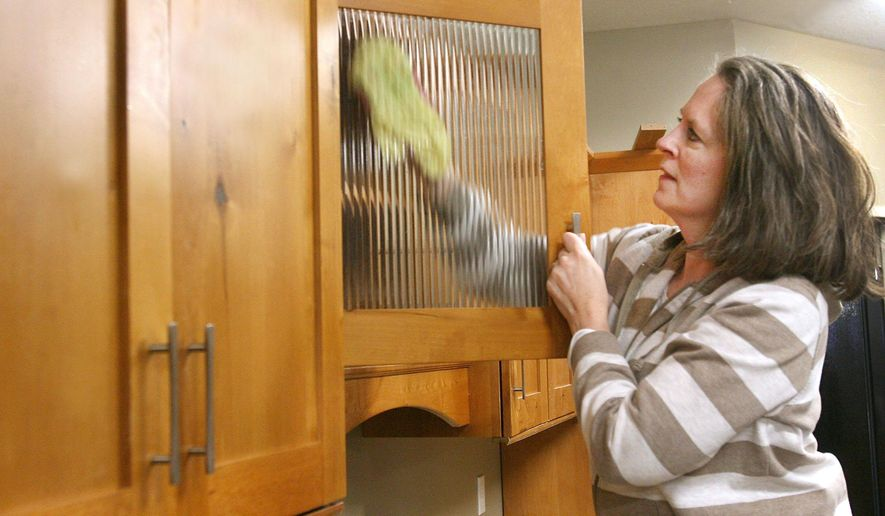 In this Friday, Dec. 5, 2014 photo, volunteer Robin Wilson, from the Clear Lake Christian Church, cleans kitchen cabinets, at the New Beginnings House of Hope, in Mason City, Iowa. Director Jeannie Kingery for homeless shelters under Northern Lights Alliance for the Homeless says the new building offers more space, better security and comfort for clients. (AP Photo/The Globe-Gazette, Jeff Heinz)