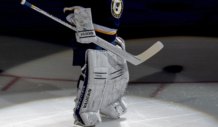 St. Louis Blues goalie Martin Brodeur takes the ice for his first home game start as a St. Louis Blues goalie before an NHL hockey game against the Edmonton Oilers, Monday, Dec. 8, 2014, in St. Louis. (AP Photo/Tom Gannam)