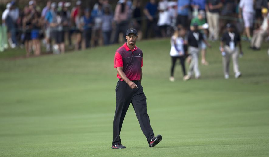 Tiger Woods walks up the 18th fairway to the green during the final round of the Hero World Challenge golf tournament on Sunday, Dec. 7, 2014, in Windermere, Fla. (AP Photo/Willie J. Allen Jr.)