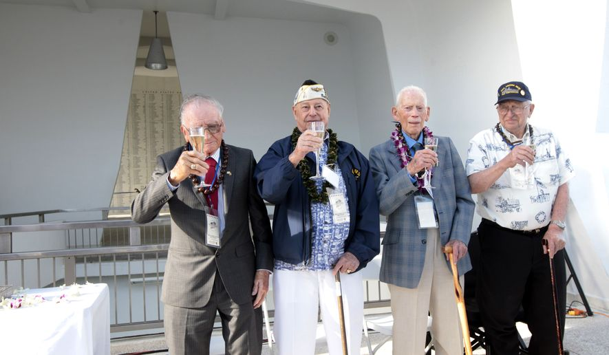 USS Arizona survivors from left-right, Donald Gay Stratton, Louis A. Conter, John Delmar  Anderson, Lauren Fay Bruner give a toast for the USS Arizona Reunion: Final Toast at WWII Valor in the Pacific National Monument in Pearl Harbor on Sunday, Dec. 7, 2014. A bottle of sparkling wine given to President Gerald Ford in 1975 to commemorate his visit to Madrid was uncorked to celebrate the day. (AP Photo/The Star-Advertiser, Krystle Marcellus)