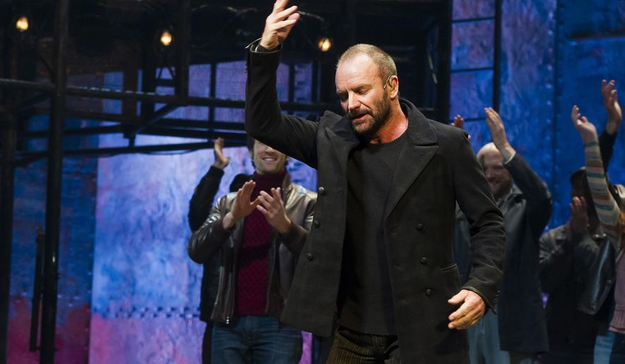 "Sting appears at the curtain call following his debut performance in Broadway's ""The Last Ship"" on Tuesday, Dec. 9, 2014 in New York. (Photo by Charles Sykes/Invision/AP)"