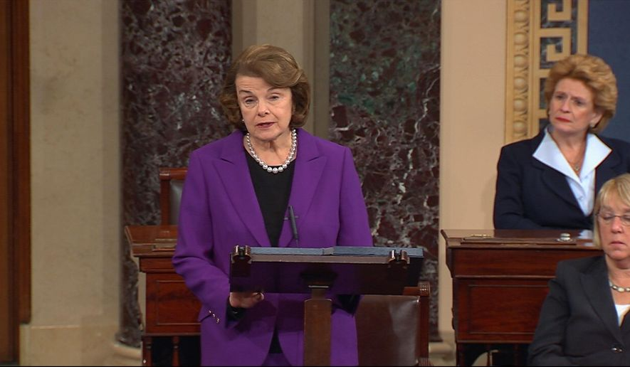 This frame grab from video, provided by Senate Television, shows Senate Intelligence Committee Chair Sen. Dianne Feinstein, D-Calif. speaking on the floor of the Senate on Capitol Hill in Washington, Tuesday, Dec. 9, 2014. Senate investigators have delivered a damning indictment of CIA interrogation practices after the 9/11 attacks, accusing the agency of inflicting pain and suffering on prisoners with tactics that went well beyond legal limits. The torture report released Tuesday by the Senate Intelligence Committee says the CIA deceived the nation with its insistence that the harsh interrogation tactics had saved lives. It says those claims are unsubstantiated by the CIA's own records. Sen. Debbie Stabenow, D-Mich. is at center, Sen. Patty Murray, D-Wash. is at right.   (AP Photo/Senate Television)