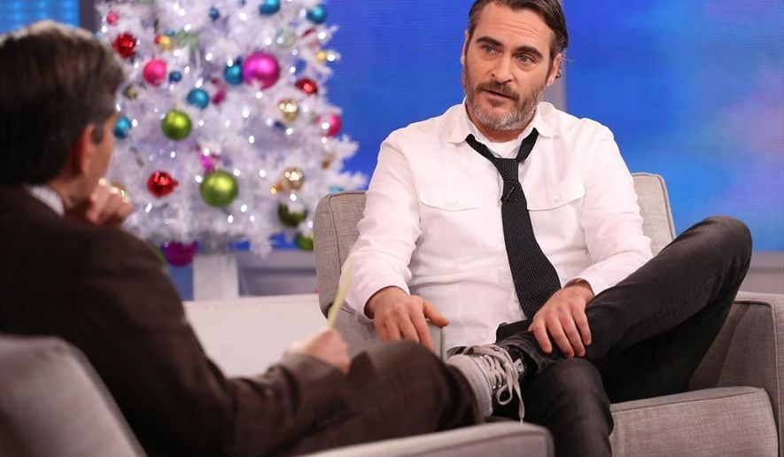 "In this image released by ABC, actor Joaquin Phoenix appears on ""Good Morning America,"" Tuesday, Dec. 9, 2014 in New York. Phoenix, who announced his ""engagement"" on the CBS late-night talk show ""Late Show with David Letterman,"" only to say on Tuesday that it was only a joke. Before he came clean on ""Good Morning America,"" news of Phoenix's supposed impending wedding to his yoga instructor spread widely on several legitimate news sources. ""I can get engaged again if you like,"" Phoenix told ABC's George Stephanopoulos after telling him he wasn't really ready to get hitched. (AP Photo/ABC, Fred Lee)"