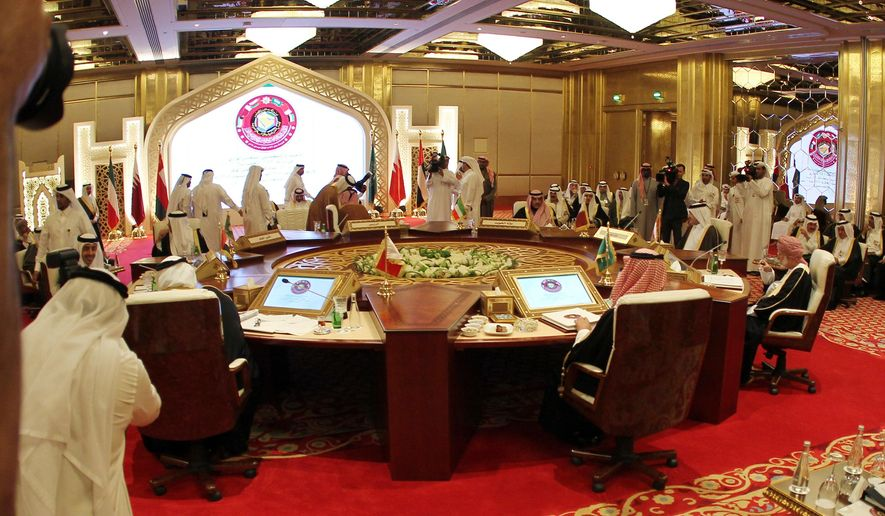 A general view shows the foreign ministers of the Gulf Cooperation Council foreign meeting in Doha, Qatar, Tuesday, Dec. 9, 2014. Senior officials from the Gulf Arab states are meeting in the Qatari capital for a summit of the six-member Gulf Cooperation Council, which follows an unusually public rift that tested diplomatic relations in the oil-rich region. (AP Photo/Osama Faisal)