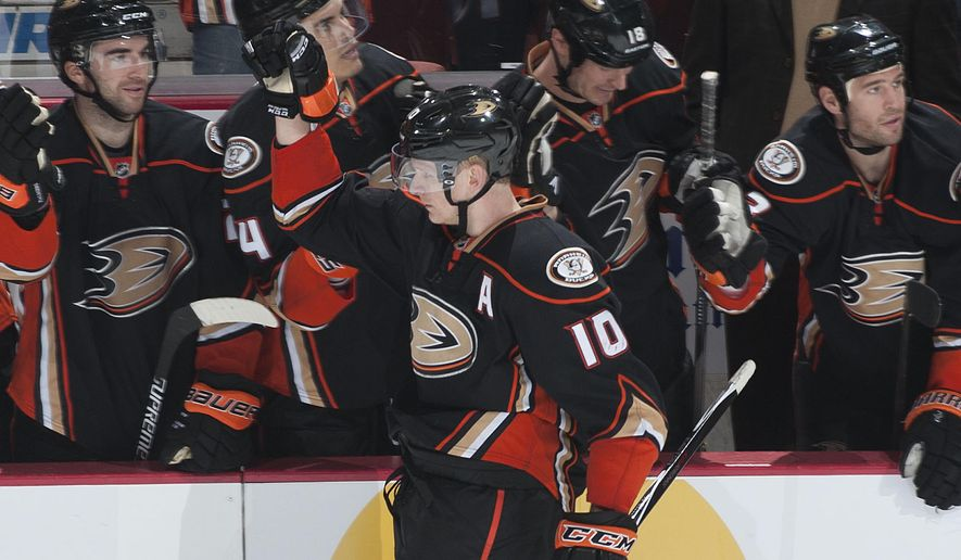The Ducks' Corey Perry celebrates after scoring on Flyers' goaltender Steve Mason during the shootout of Anaheim's 5-4 victory over Philadelphia Wednesday night Dec. 3, 2014 at the Honda Center. (AP Photo/The Orange County Register, Kevin Sullivan)