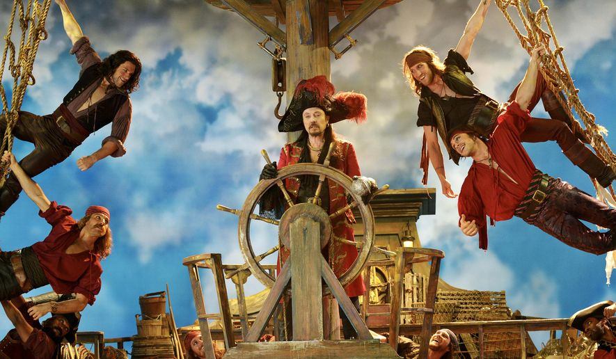 "This Nov. 8, 2014 image provided by NBC shows Christopher Walken as Captain Hook, center, from the musical version, ""Peter Pan Live!"" which aired Thursday, Dec. 4, at 8 p.m., EST.  The network won the week in the Nielsen company ratings even though ""Peter Pan Live!"" with 9.2 million viewers, had half the audience that ""The Sound of Music"" had for NBC last year. (AP Photo/NBC, Virginia Sherwood)"