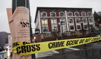 Crime scene tape is wrapped around a pole in front of Chabad-Lubavitch Hasidic headquarters, Tuesday, Dec. 9, 2014, in New York. A knife-wielding man stabbed an Israeli student inside the Brooklyn synagogue before being fatally shot by police after he refused to drop the knife. The student, Levi Rosenblatt, is in stable condition. (AP Photo/Mark Lennihan)