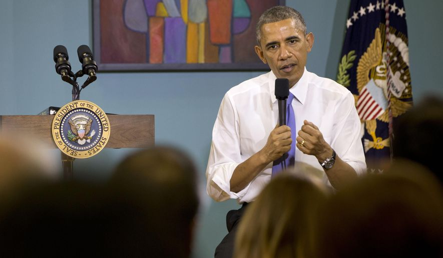 President Barack Obama answers questions about his recent executive actions on immigration, Tuesday, Dec. 9, 2014, at Casa Azafran in Nashville, Tenn. (AP Photo/Jacquelyn Martin)