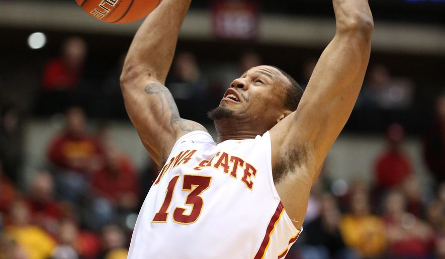 Iowa State guard Bryce Dejean-Jones slams the ball during the first half of an NCAA college basketball game against the UKMC, Tuesday, Dec. 9, 2014, in Ames, Iowa. (AP Photo/Justin Hayworth)