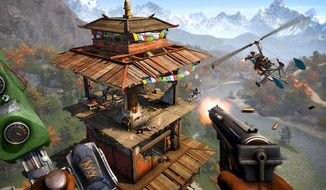 Attack enemy-controlled towers in skycopters in the first person shooter Far Cry 4.