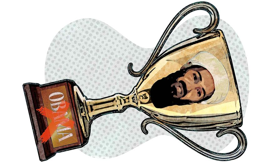 Obama's Osama bin Laden Trophy Illustration by Greg Groesch/The Washington Times