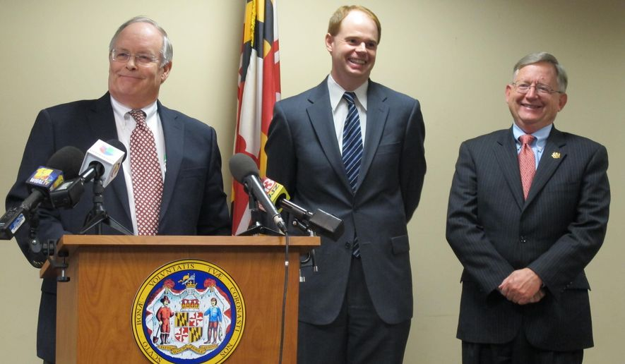 Robert Neall, left, named a special adviser on fiscal matters, is joined by Craig Williams, center, named chief of staff , and state Sen. Joseph Getty, named policy and legislative director, after Maryland Gov.-elect Larry Hogan announced the three appointments Wednesday, Dec. 10, 2014, in Annapolis, Md. (AP Photo/Brian Witte)