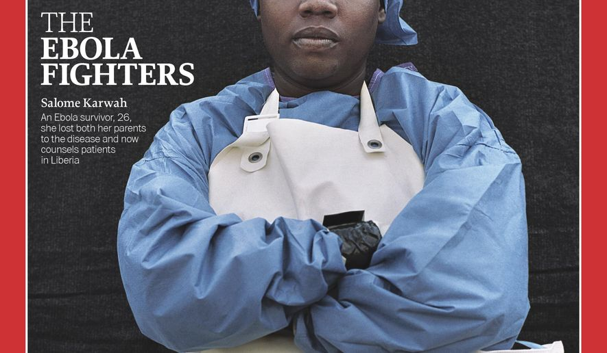 This image provided by Time Magazine, on Wednesday, Dec. 10, 2014, features Salome Karwah as one of the Ebola fighters named as the Person of The Year for 2014. The title, according to the magazine, goes to an individual or group who has had the biggest impact on the news over the course of the previous year. (AP Photo/Time Magazine)