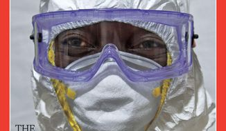 """The National Institutes of Health are preparing to admit a nurse who was exposed to the Ebola virus in Africa. Earlier this week, Time Magazine announced """"the Ebola fighters"""" as its Person of The Year for 2014.  (AP Photo/Time Magazine)"""