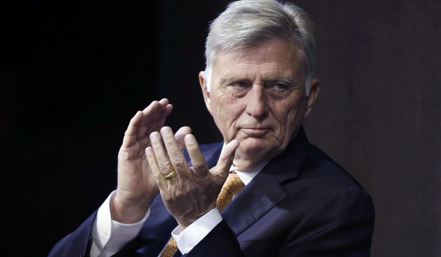 Arkansas Gov. Mike Beebe participates in a forum answering questions about his career in Little Rock, Ark., Wednesday, Dec. 10, 2014. (AP Photo/Danny Johnston)