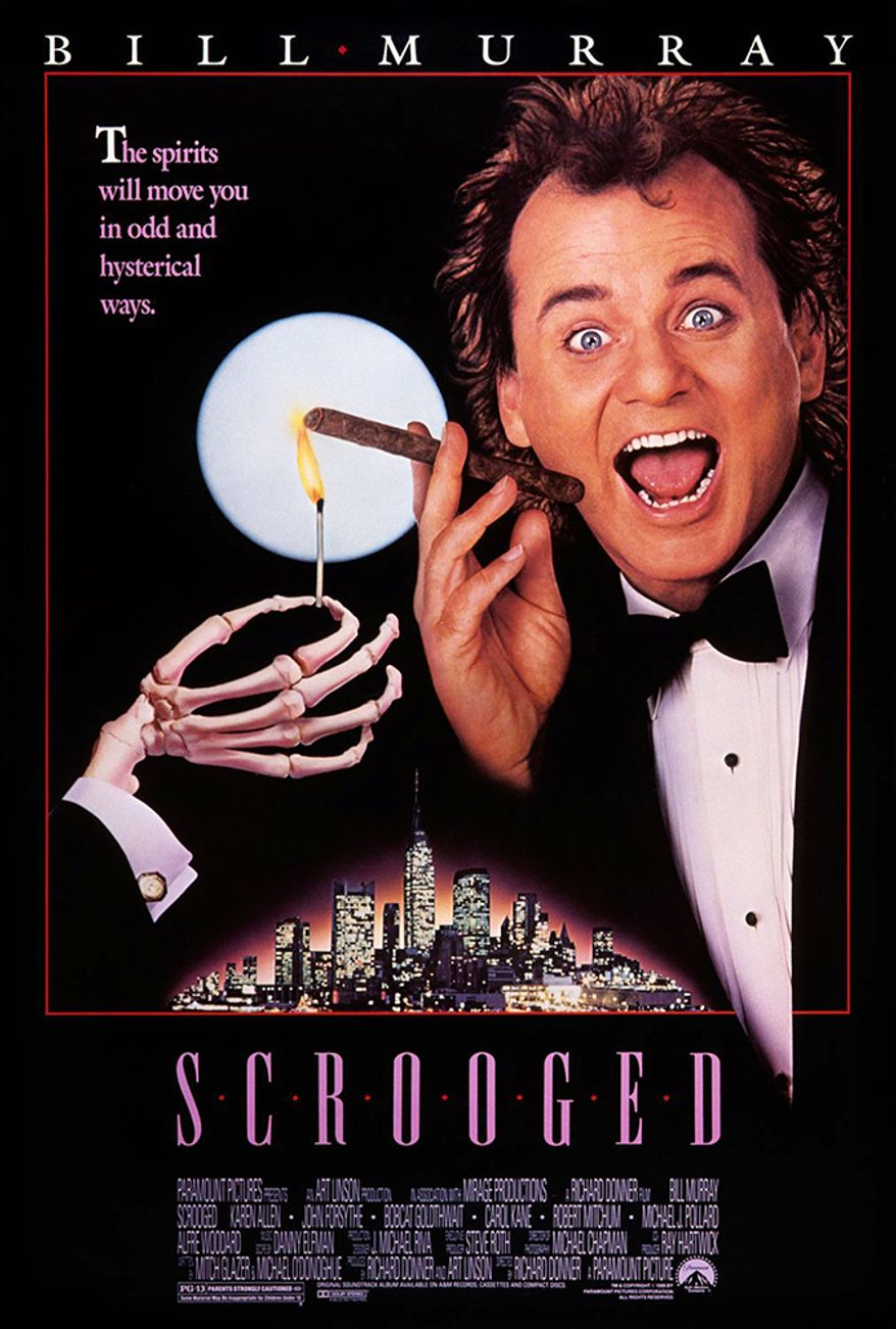 Scrooged (1988) - A Christmas comedy film, a modernization of Charles Dickens'  A Christmas Carol. The film was produced and directed by Richard Donner, and the cinematography was by Michael Chapman. The screenplay was written by Mitch Glazer and Michael O'Donoghue. The original music score was composed by Danny Elfman. The film stars Bill Murray, with Karen Allen, Bobcat Goldthwait, John Forsythe, Carol Kane, John Houseman, and Robert Mitchum in supporting roles. Murray's brothers Brian, John, and Joel also appear in the film.