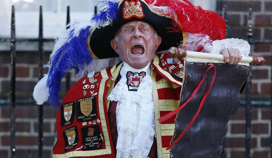 FILE - In this July 22, 2013 file photo,Tony Appleton, a town crier, announces the birth of the royal baby, outside St. Mary's Hospital exclusive Lindo Wing in London, Palace officials say Prince William's wife Kate has given birth to a baby boy. Riffing off prior Monegasque ritual, Prince Albert II set the ground rules for how Monaco announced the births of little Gabriela and Jacques to Princess Charlene on Wednesday.  (AP Photo/Lefteris Pitarakis, File)