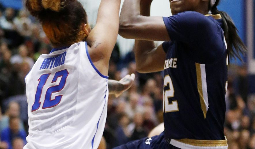 Notre Dame guard Jewell Loyd (32) shoots past DePaul guard Brittany Hrynko (12) during the first half of an NCAA basketball game on Wednesday, Dec. 10, 2014, in Chicago. (AP Photo/Andrew A. Nelles)