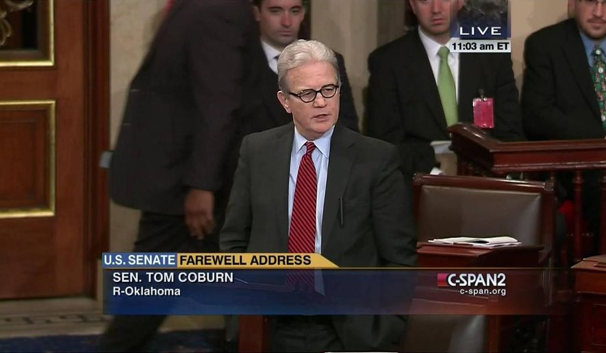 This frame grab from video, provided by C-SPAN2 shows Sen. Tom Coburn, R-Okla. giving his farewell address on the floor of the Senate on Capitol Hill in Washington, Thursday, Dec. 11, 2014. (AP Photo/C-SPAN2)