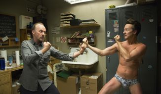 "This image released by Fox Searchlight Pictures shows Michael Keaton, left, and Edward Norton in a scene from ""Birdman.""  (AP Photo/Fox Searchlight Pictures)"