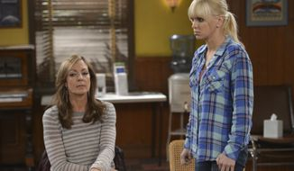 "In this image released by CBS, Allison Janney, left, and Anna Faris appear in a scene from ""Mom."" Janney was nominated for a Golden Globe for best supporting actress in a TV movie or mini-series for her role on Thursday, Dec. 11, 2014. The 72nd annual Golden Globe awards will air on NBC on Sunday, Jan. 11. (AP Photo/CBS, Darren Michaels)"