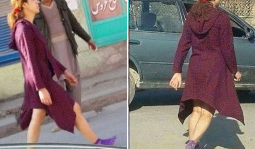 The photo of an Afghan woman walking the streets of Kabul in a mid-length dress with her bare legs showing has gone viral. (Hayat Ensafi via New York Post)