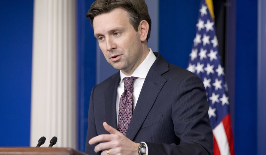 White House press secretary Josh Earnest speaks during his daily news briefing at the White House in Washington, Thursday, Dec. 11, 2014, where he answered questions on the spending bill President Barack Obama will sign a $1.1 trillion spending bill that has drawn widespread opposition from Democrats over its inclusion of banking and campaign money provisions they dislike. (AP Photo/Jacquelyn Martin)