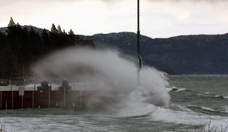 This photo provided by the Placer County Sheriff shows waves pounding a dock in Lake Tahoe, Calif. on Thursday, Dec. 11, 2014.  A powerful storm churned down the West Coast Thursday, bringing strong gales and much-needed rain and snow that caused widespread blackouts in Northern California and whiteouts in the Sierra Nevada. (AP Photo/Placer County Sheriff)
