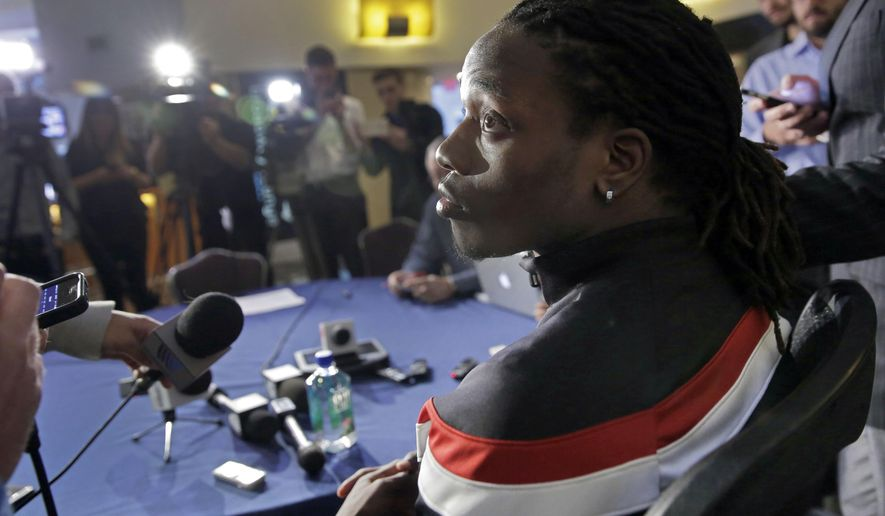 Heisman Trophy finalist and Wisconsin running back Melvin Gordon participates in a press conference, Friday, Dec. 12, 2014, in New York. The award is to be presented Saturday. (AP Photo/Richard Drew)