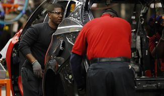 In this Nov. 5, 2014 file photo, Nissan trim and chassis workers work on a new 2015 Nissan Murano at the Nissan plant in Canton, Miss. The Labor Department releases the Producer Price Index for November on Friday, Dec. 12, 2014. (AP Photo/Rogelio V. Solis, File)