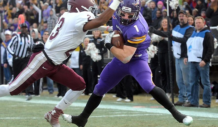 Minnesota State's Kyle Riggott (1) catches a touchdown pass in front of Concord's Chaudlier Shepherd (23) during the first half of an NCAA college football game Saturday, Dec. 13, 2014, in Mankato, Minn. (AP Photo/Mankato Free Press, Pat Christman)