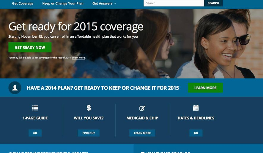 FILE - This Oct. 15, 2014 file photo, a screen shot shows the home page of HealthCare,gov, a federal government website managed by the U.S. Centers for Medicare & Medicaid Service. President Barack Obama's health insurance expansion faces the biggest test of its second year on Monday, the deadline to sign up for coverage that starts Jan. 1. Not only are Healthcare.gov and state websites preparing for heavy traffic, but the deadline also is a test of whether millions of current customers understood that they needed to come back and shop to keep their premiums in line. (AP Photo, File)