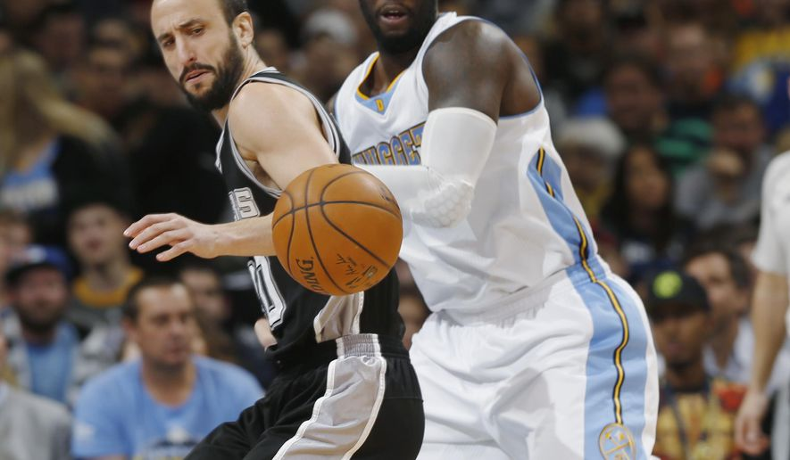 San Antonio Spurs guard Manu Ginobili, left, of Argentina, pursues a loose ball with Denver Nuggets forward J.J. Hickson in the first quarter of an NBA basketball game on Sunday, Dec. 14, 2014, in Denver. (AP Photo/David Zalubowski)