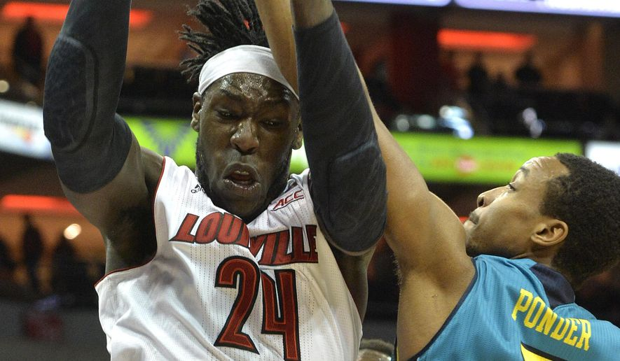 Louisville's Montrezl Harrell, left, battles UNC Wilmington's Craig Ponder for a rebound during the first half of an NCAA college basketball game Sunday, Dec. 14, 2014, in Louisville, Ky. (AP Photo/Timothy D. Easley)