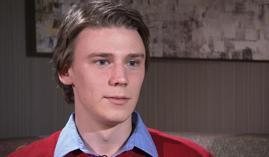 In this image taken from video, Saturday, Dec. 13, 2014, University of Virginia student Alex Stock talks during an interview with The Associated Press in Charlottsville, Va. Stock, and two other friends of an alleged victim of a gang rape at a U.Va. fraternity, challenged details in a Rolling Stone article that used the woman's attack to paint a picture of a culture of sexual violence on the campus was wrong on a number of key points: most important that they didn't encourage her to report the attack and that they were more concerned about their reputations than her well-being. (AP Photo)