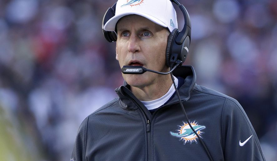 Miami Dolphins head coach Joe Philbin watches the first half of an NFL football game against the New England Patriots, Sunday, Dec. 14, 2014, in Foxborough, Mass. (AP Photo/Steven Senne)