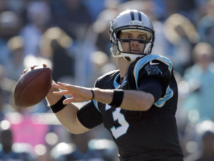 Carolina Panthers' Derek Anderson (3) looks to pass against the Tampa Bay Buccaneers in the first half of an NFL football game in Charlotte, N.C., Sunday, Dec. 14, 2014. (AP Photo/Bob Leverone)