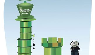 Illustration on Saudi Arabia's strategic use of its oil supply by Linas Garsys/The Washington Times