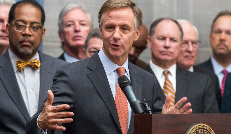 Gov. Bill Haslam announces his proposal to expand Medicaid in Tennessee during a press conference at the state Capitol in Nashville, Tenn., on Monday, Dec. 15, 2014. The Republican governor said he will call the state Legislature into special session to take up the proposal that would make Tennessee the 28th state plus Washington, D.C., to expand Medicaid under President Barack Obama's health care law. (AP Photo/Erik Schelzig)